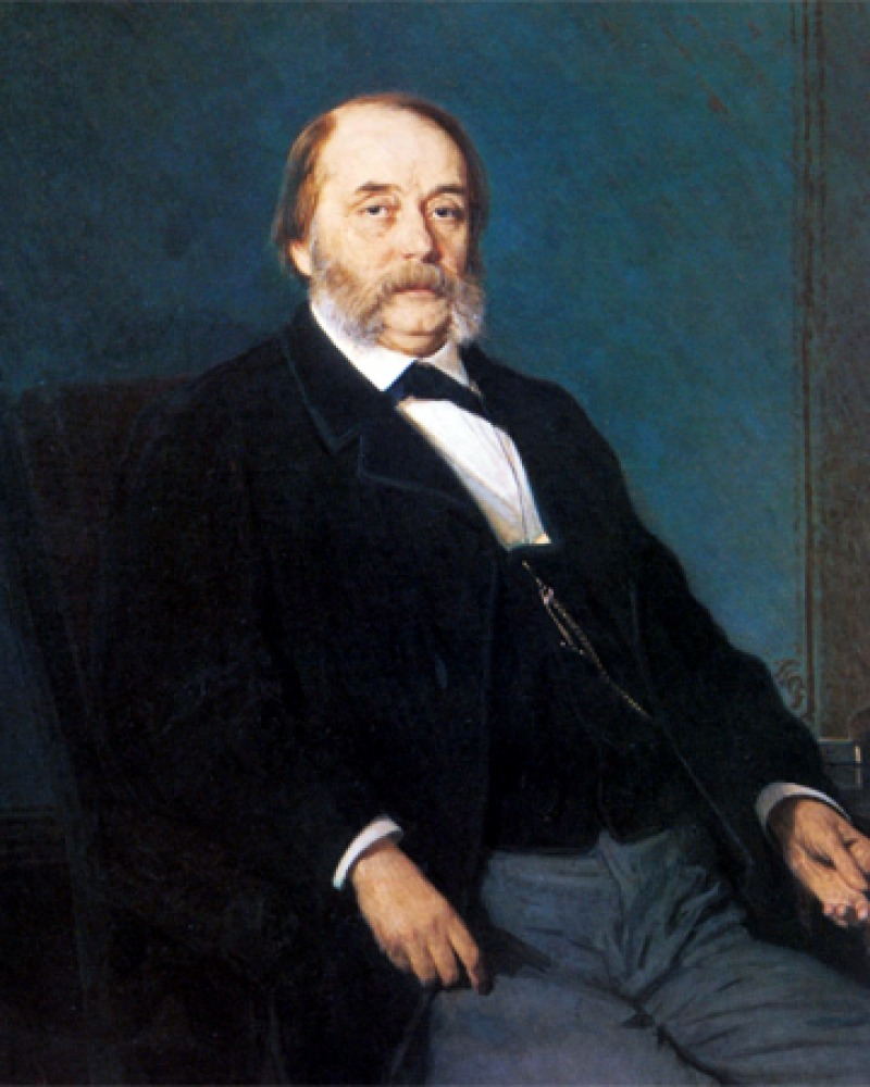 Painting of Ivan Goncharov sitting in a chair.