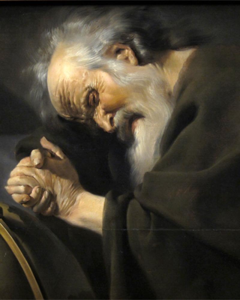 Painting of Greek philosopher Heraclitus weeping over a globe.
