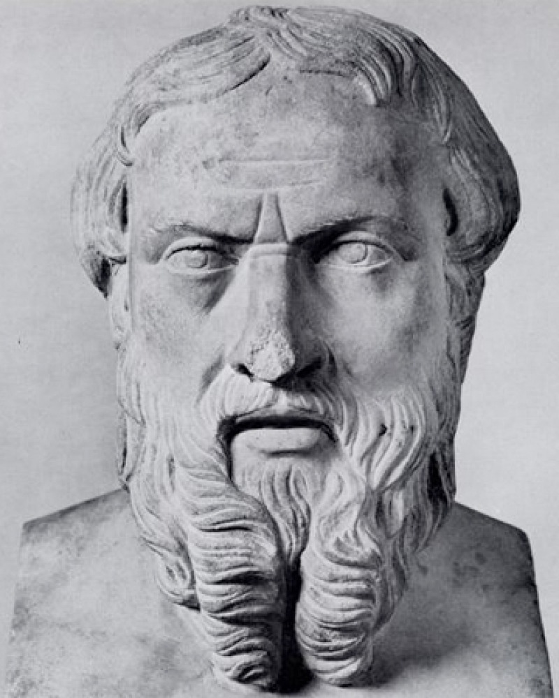 Sculpture bust of Greek historian Herodotus.