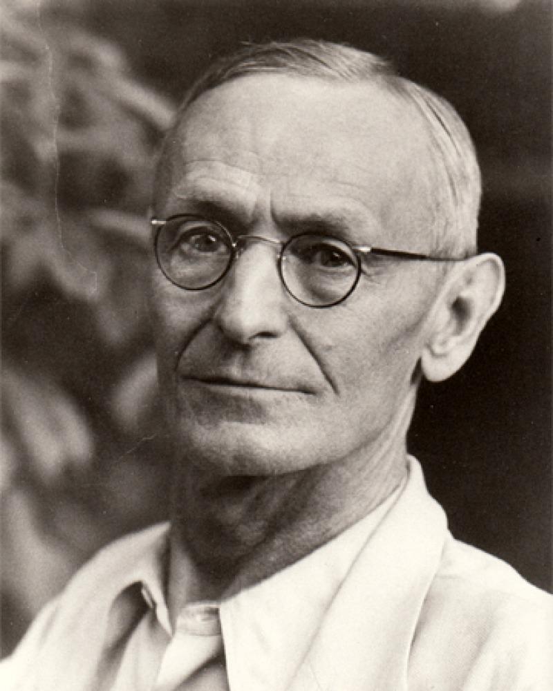 Black and white photograph of German writer Hermann Hesse.