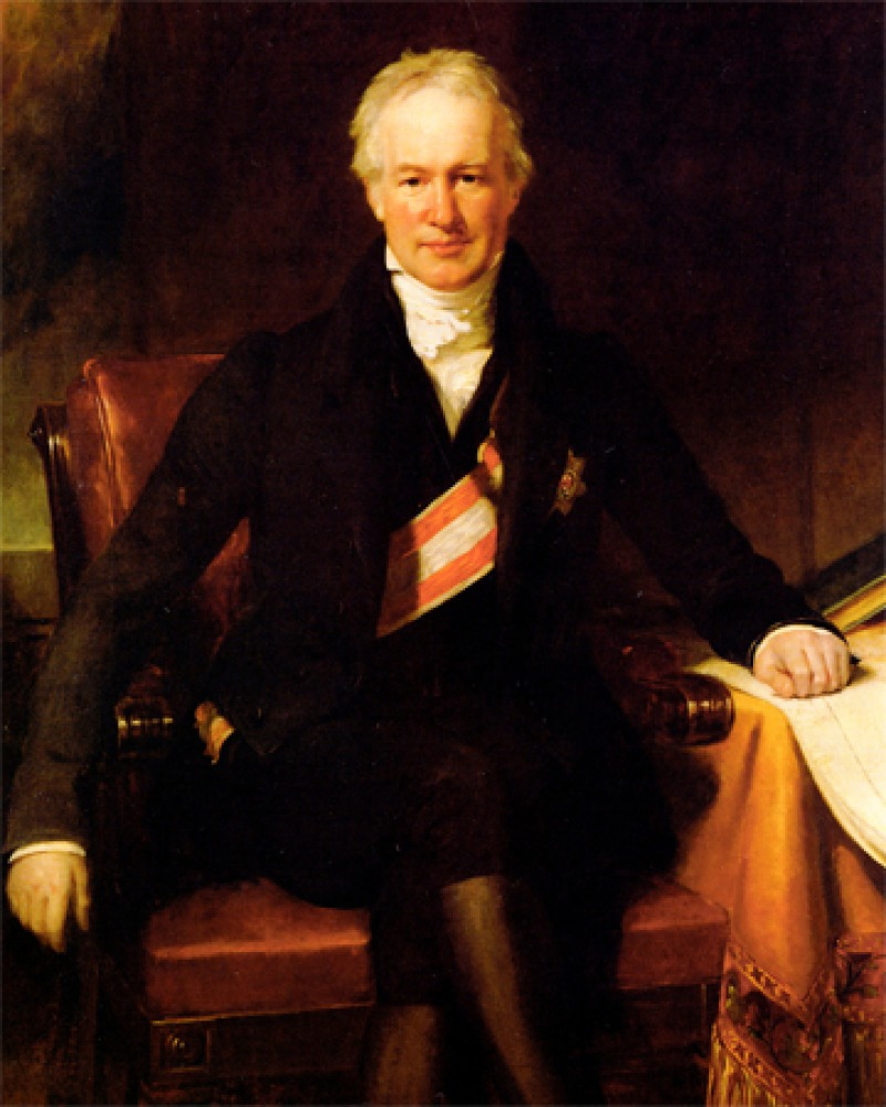 Painted portrait of German naturalist and explorer Alexander von Humboldt.