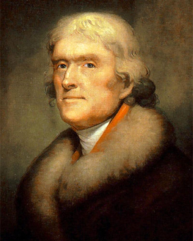 Portrait of third president of the United States Thomas Jefferson.