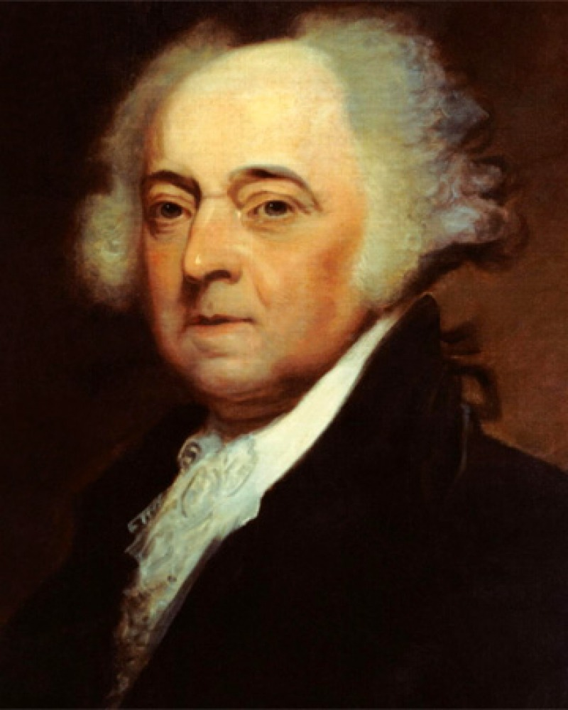 Painted portrait of second President of the United States John Adams.