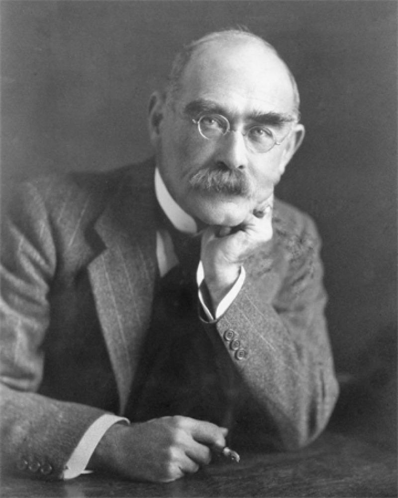 Photograph of English poet and novelist Rudyard Kipling.