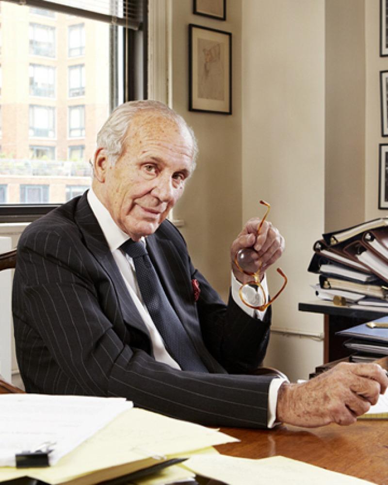 Lewis Lapham at his desk