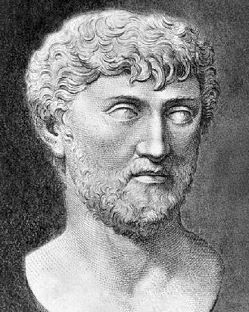 Engraving of a bust of Lucretius.