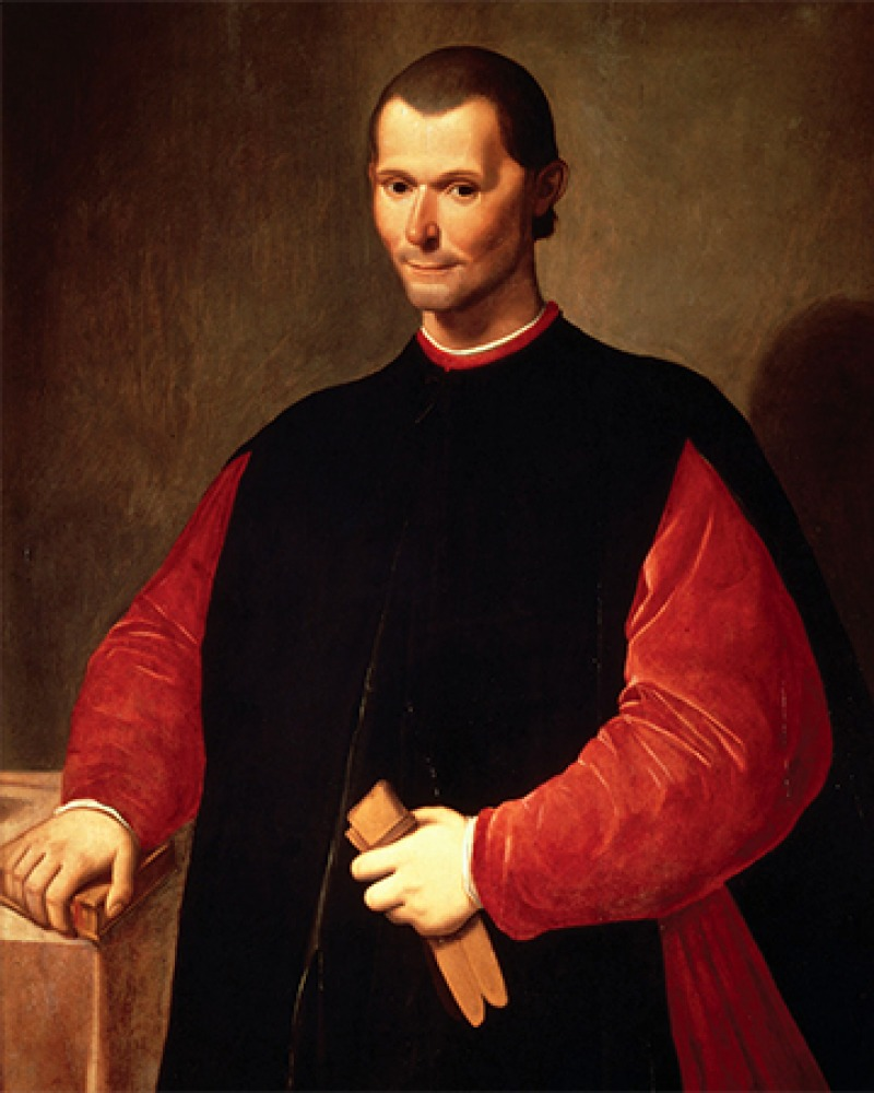 Painted portrait of Florentine statesman and philosopher Niccolò Machiavelli.