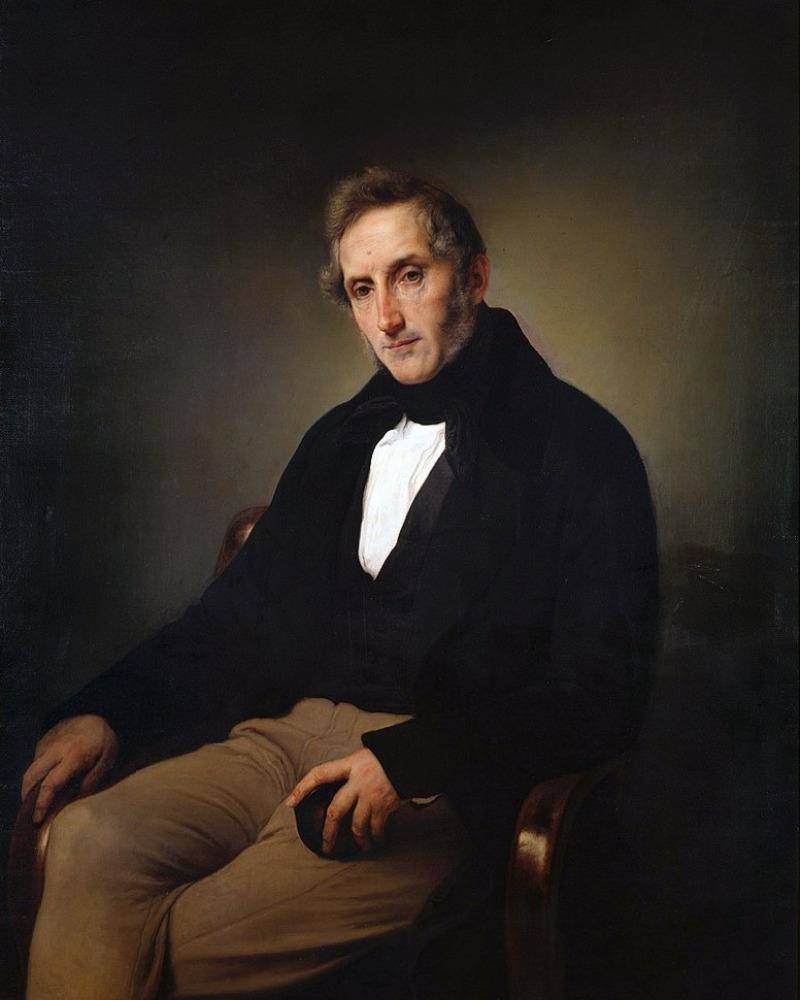 A portrait of Alessandro Manzoni.