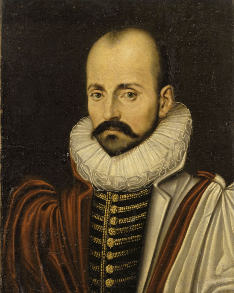 Oil painting portrair Michel de Montaigne in red robes and white collar