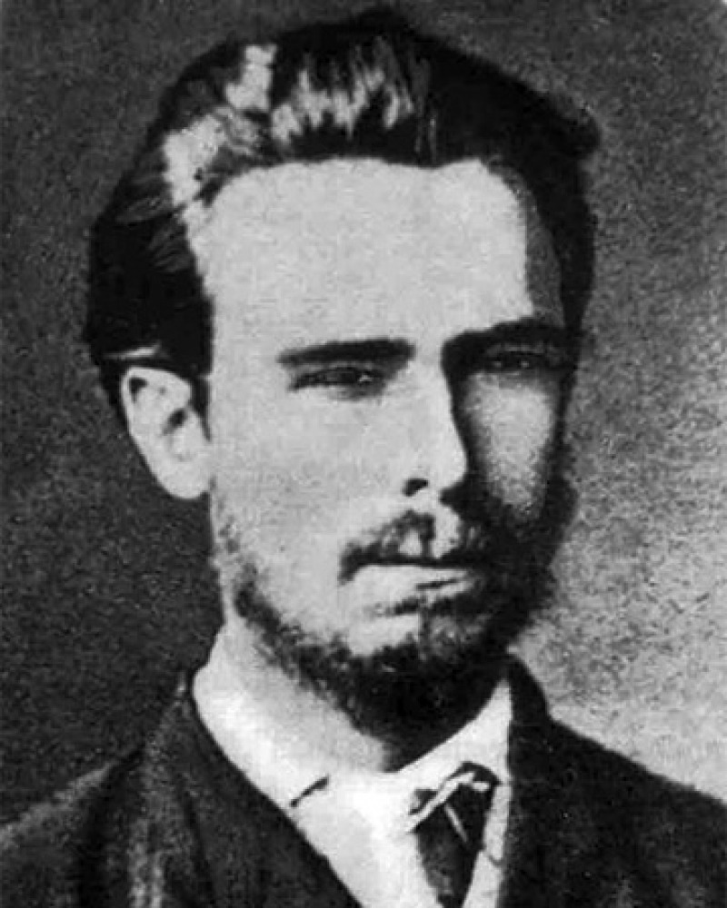 Black and white photograph of Russian revolutionary Sergei Nechaev.