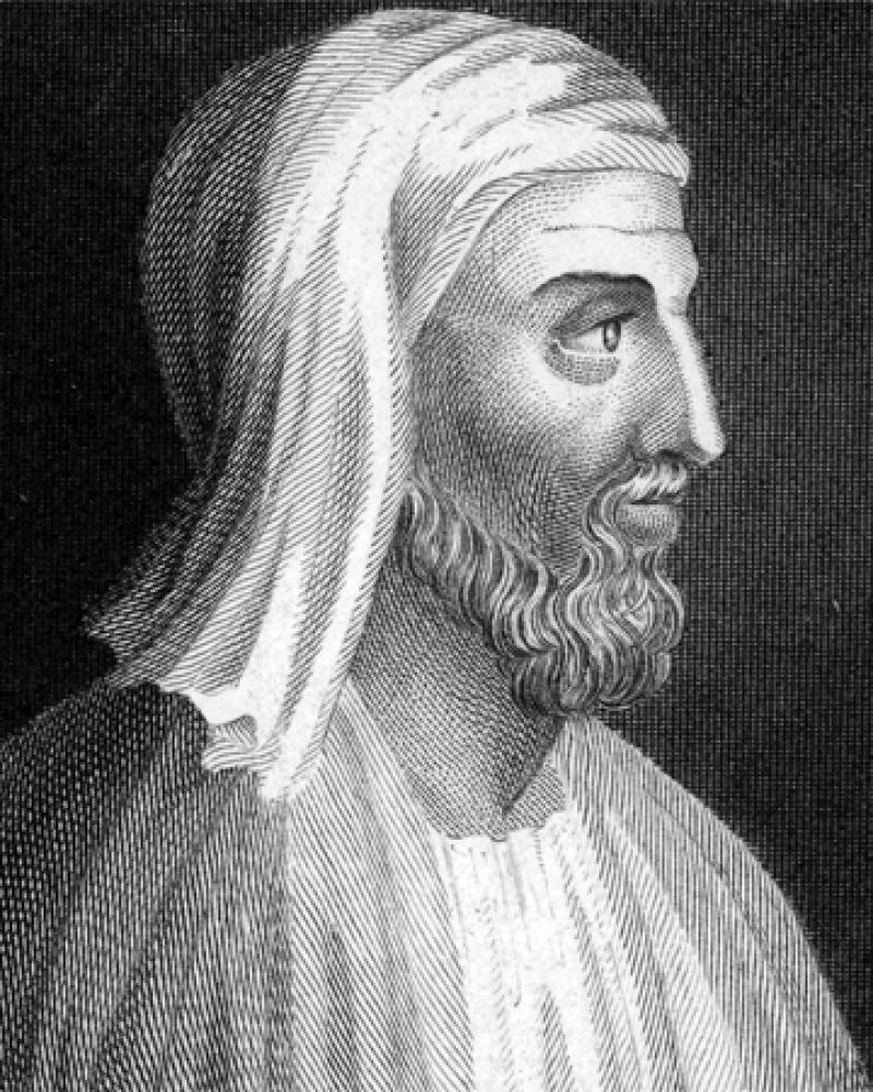 Black and white image of Greek biographer and writer Plutarch.