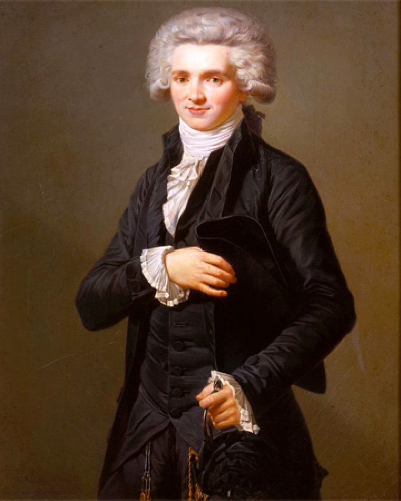Color portrait of French radical Jacobin leader Maximilien de Robespierre.