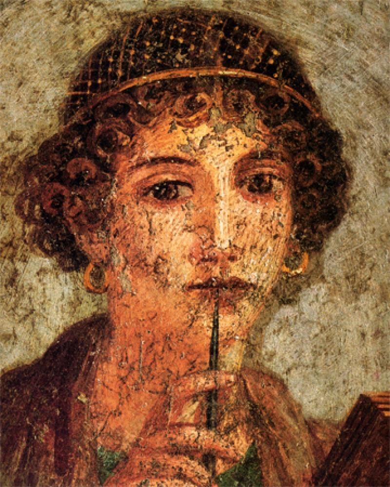 Depiction of Greek lyric poet Sappho.