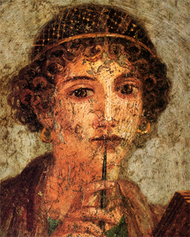 Depiction of Greek lyric poet Sappho.