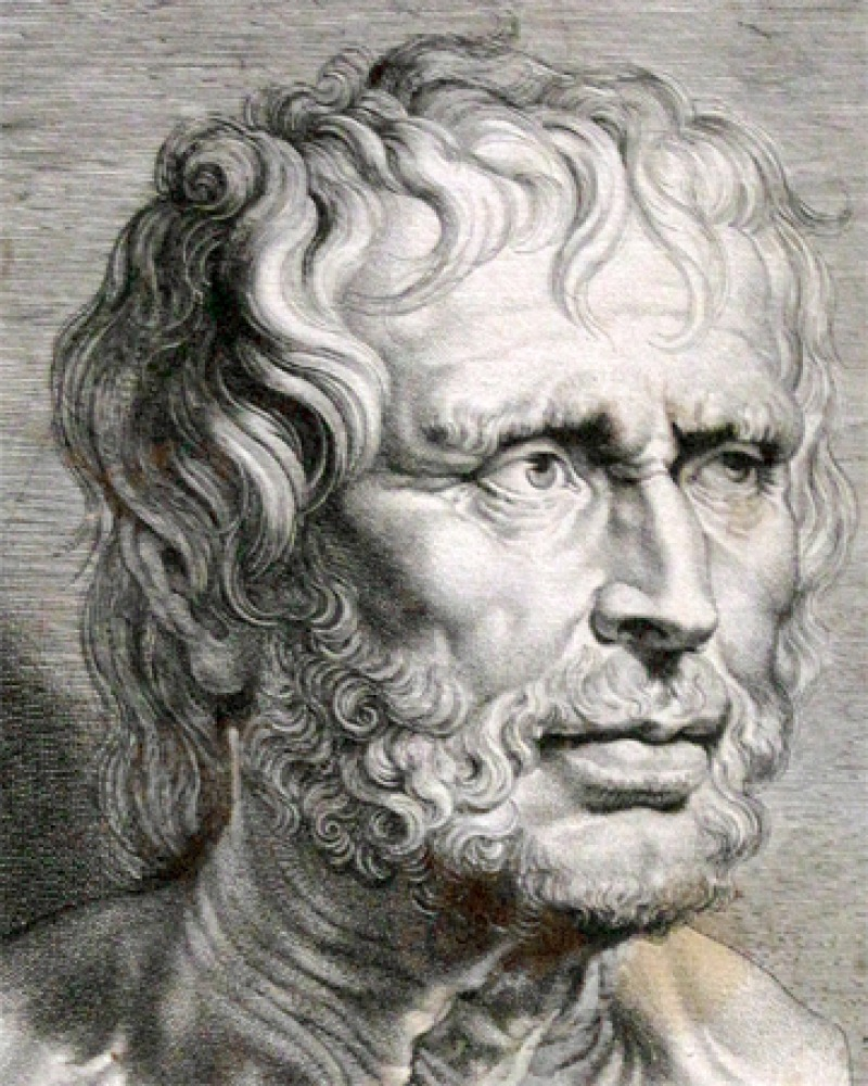 Black and white image of Roman philosopher and statesman Seneca the Younger.
