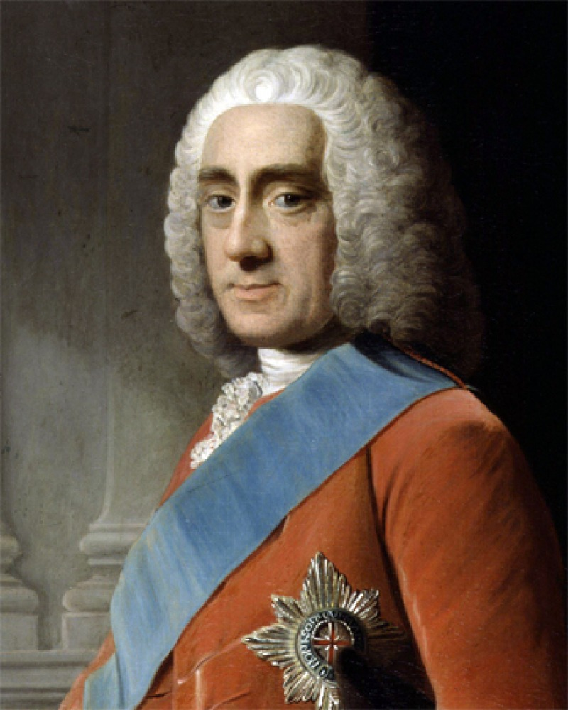 Portrait of Philip Dormer Stanhope wearing a blue sash.