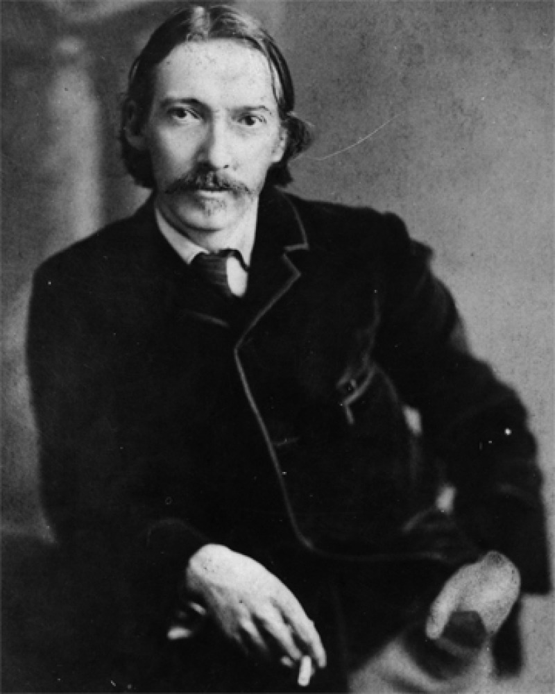 Black and white photograph of Scottish writer Robert Louis Stevenson.