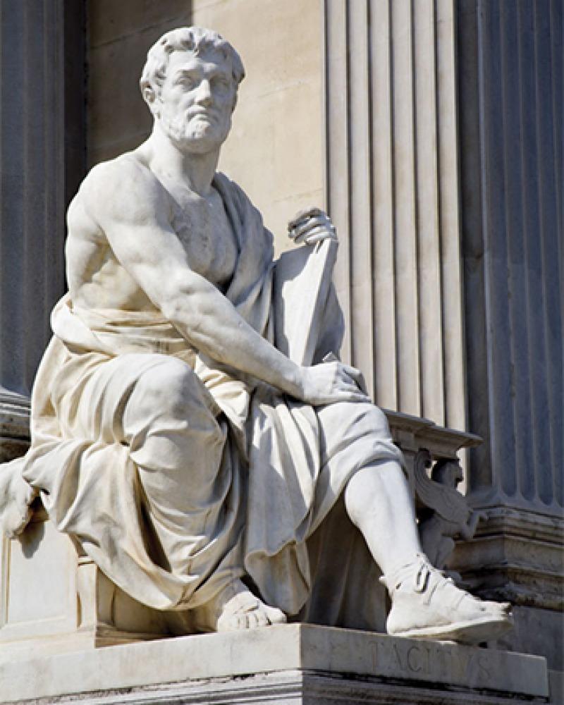Statue depicting Roman orator and historian Tacitus.