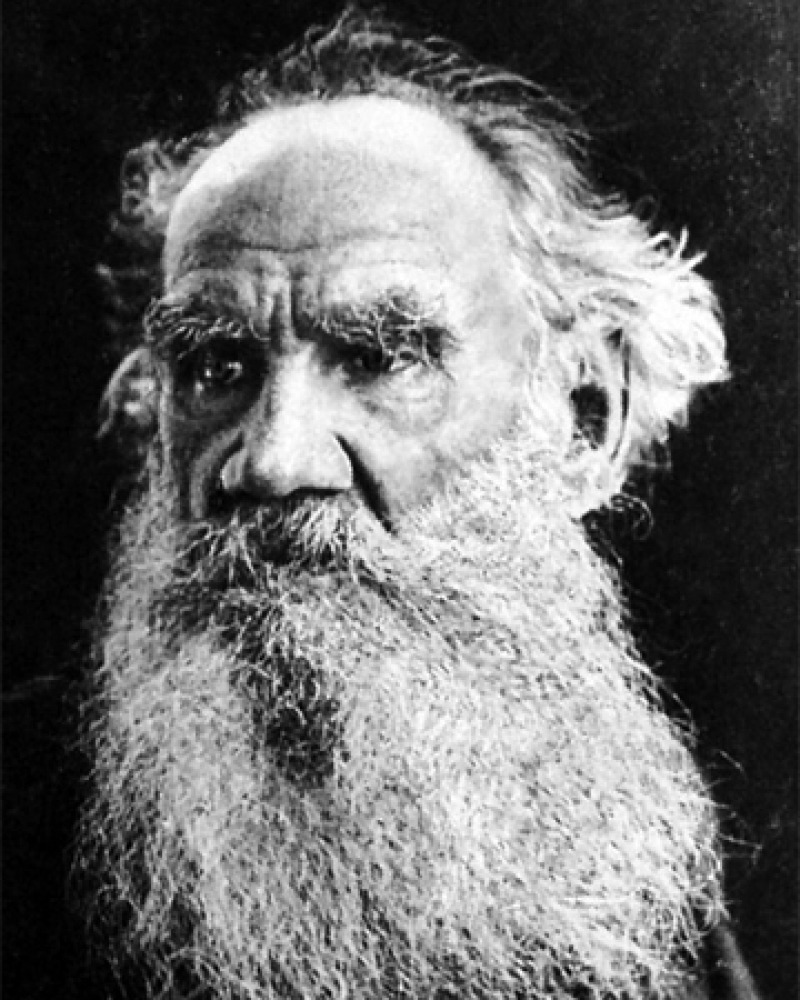 Black and white photograph of Russian author Leo Tolstoy.