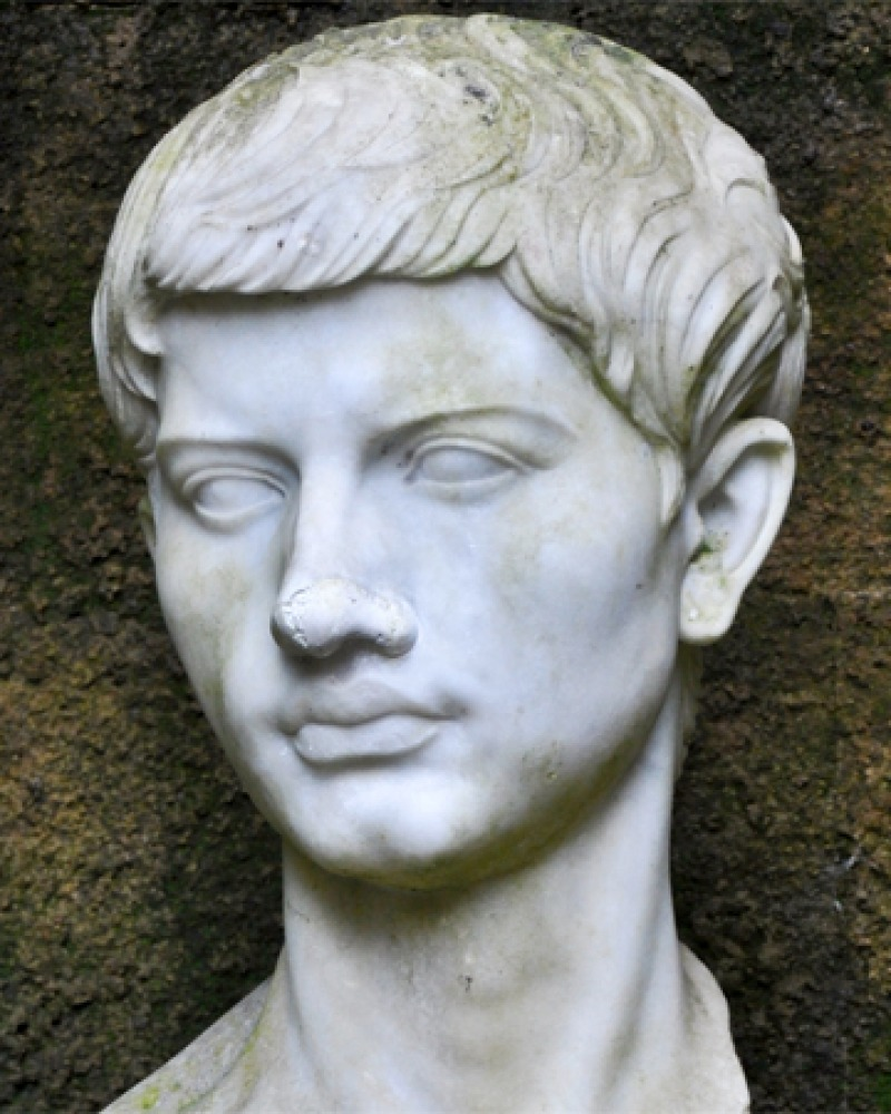 Portrait bust of Roman poet Virgil.