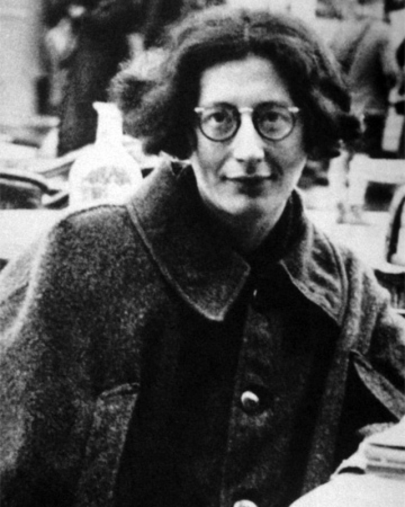 Black and white photograph of French mystic, philosopher, and activist Simone Weil.
