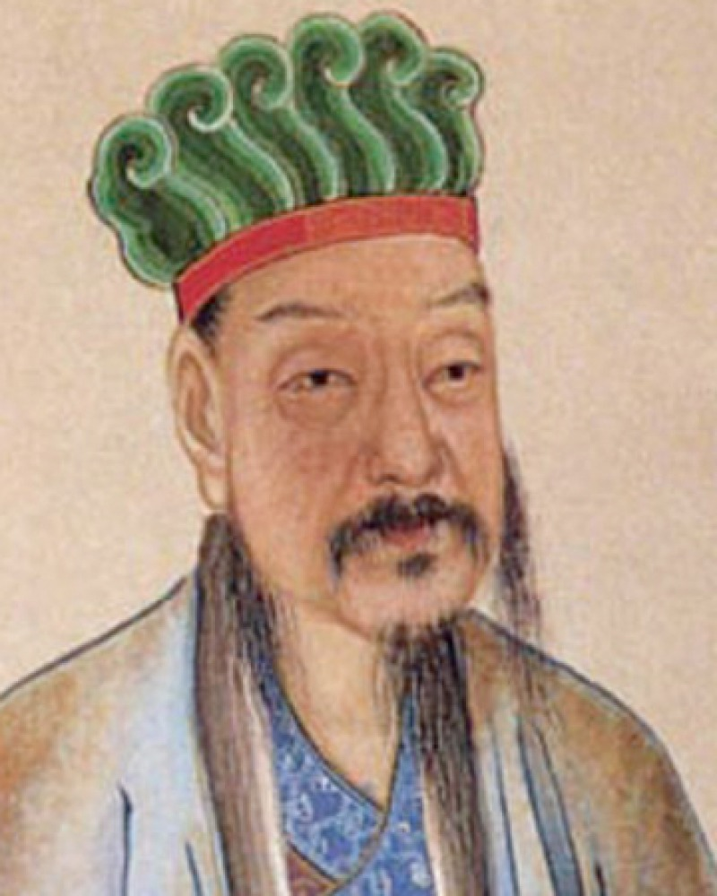 Color portrait of Chinese writer and poet Han Yu.