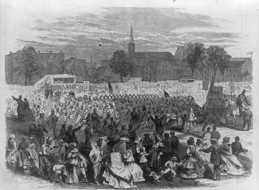 Celebration of the abolition of slavery in the District of Columbia by the colored people, in Washington, April 19, 1866, by Frederick Dielman. Library of Congress, Prints and Photographs Division.