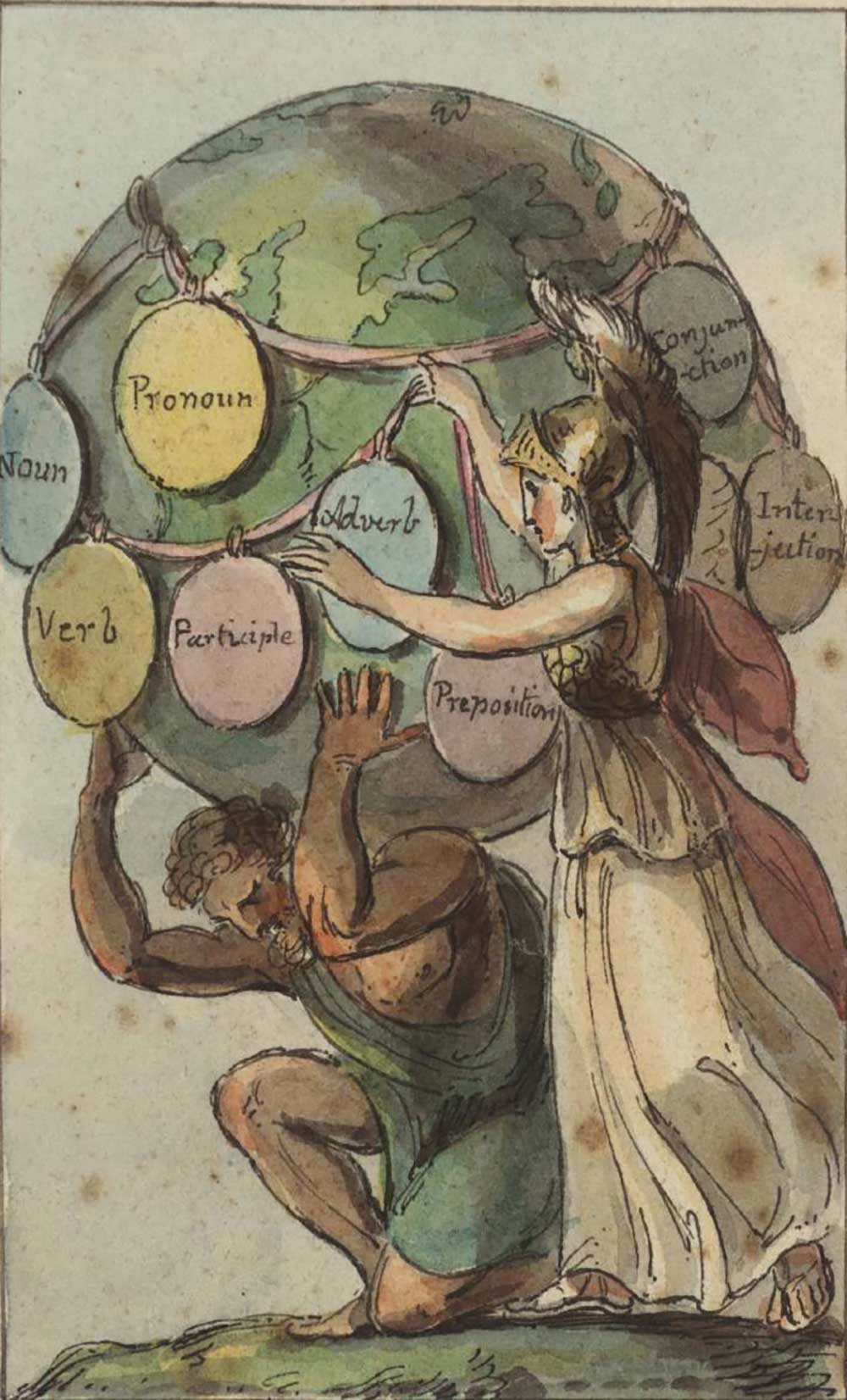 Minerva Preserving to the World the Latin Grammar, British School, eighteenth century.