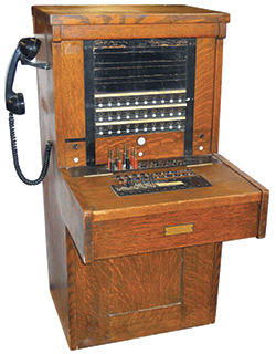 Wooden telephone switchboard
