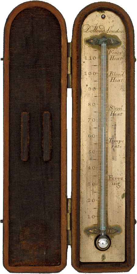 An eighteenth-century mercury thermometer in a case.