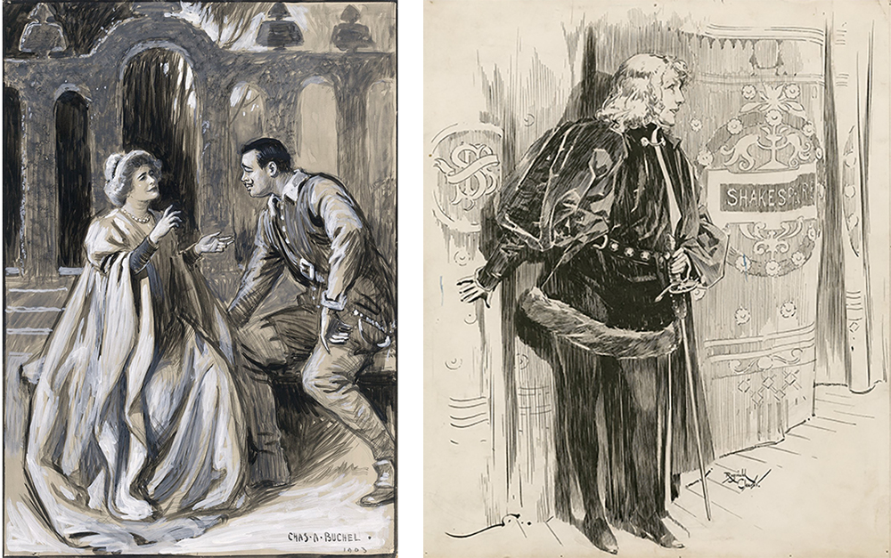 Left: Ellen Terry as Beatrice and Oscar Ashe as Benedick, by Charles A. Buchel, 1903. Right: Sarah Bernhardt as Hamlet, by Reginald Cleaver, nineteenth century.