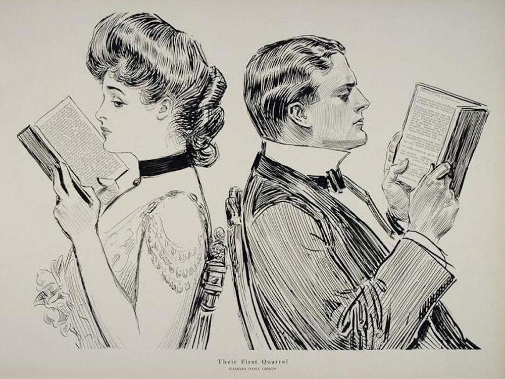 A black and white drawing of a man and a woman facing opposite directions, each reading a book. It is entitled Their First Quarrel.
