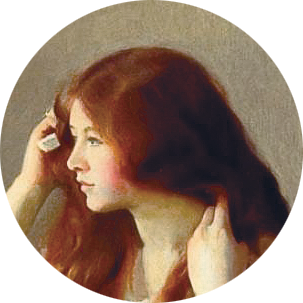 A painting of a woman brushing her long red hair.