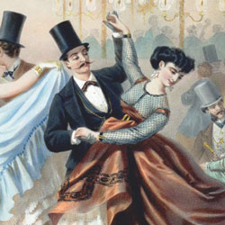 A painting of a couple in Edwardian clothes dancing