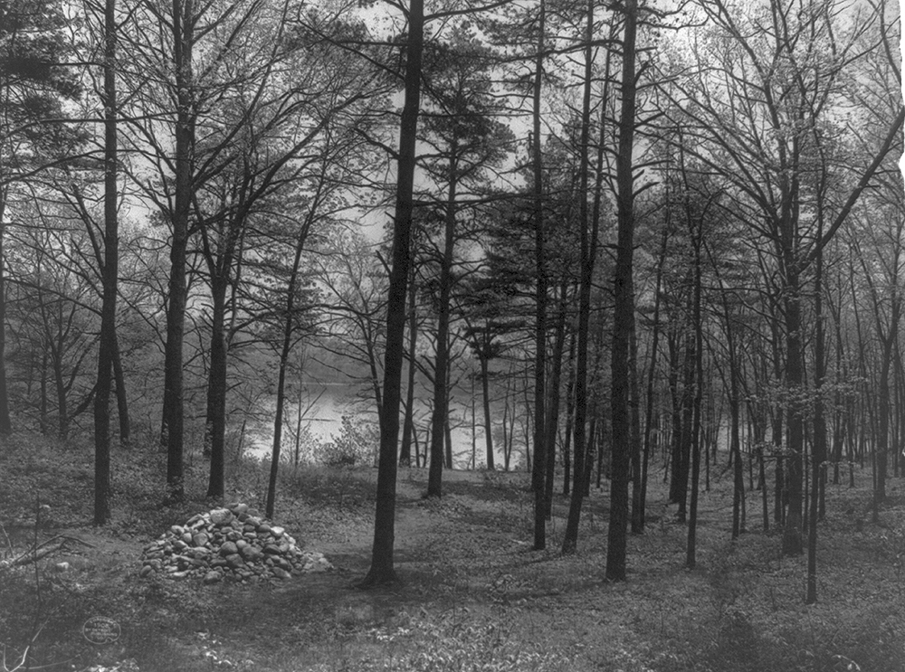 Site of Thoreau's hut, Lake Walden, c. 1908. Library of Congress, Detroit Publishing Company photograph collection.