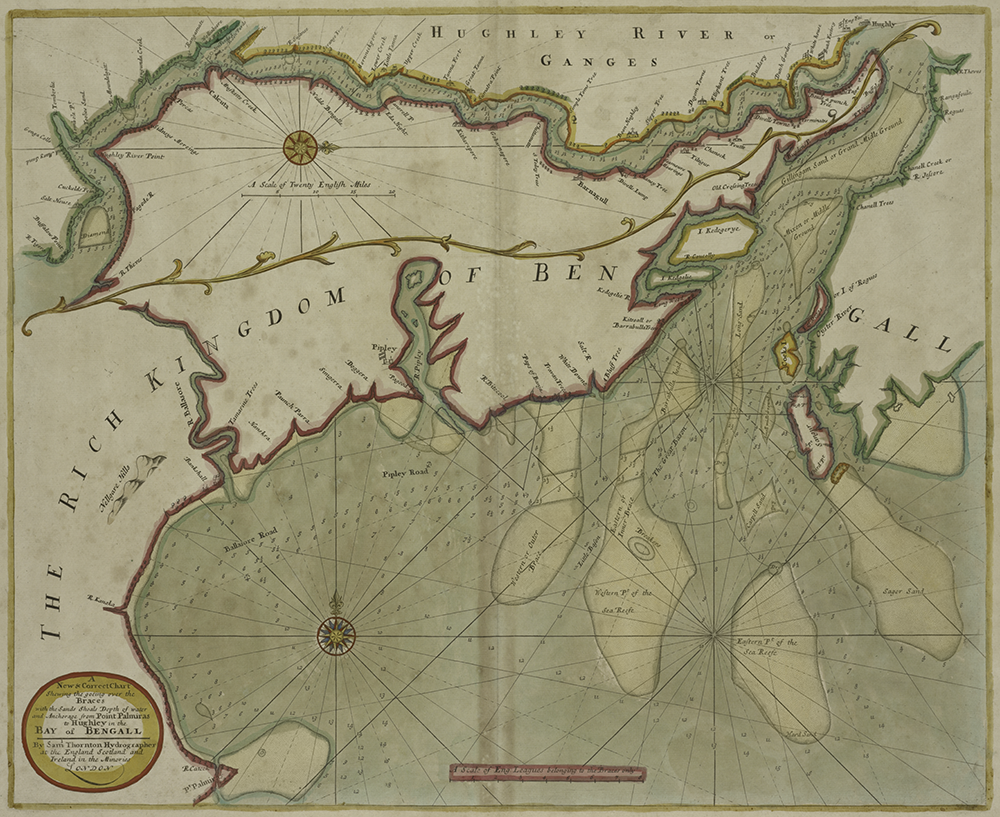 """A New and Correct Chart Shewing the Goeing Over the Braces with the Sands Shoals Depth of Water and Anchorage from Point Palmiras to Hughley in the Bay of Bengall,"" by Samuel Thornton, c. 1702–7. The New York Public Library, Lionel Pincus and Princess Fi"