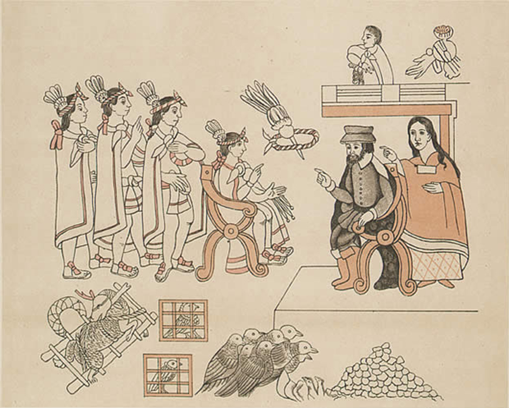 The meeting of Cortés and Moctezuma, from a c. 1890 facsimile of Lienzo de Tlaxcala (History of Tlaxcala), by Diego Muñoz Camargo, c. 1560. Wikimedia Commons, Bancroft Library.
