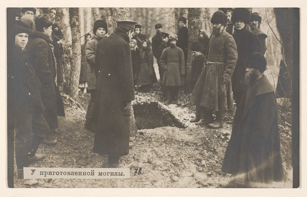 """Aleksey Ivanovich Saveliev, """"At the Prepared Grave of Leo Tolstoy,"""" 1910. The Metropolitan Museum of Art, Gift of Pierre Apraxine, 2010."""
