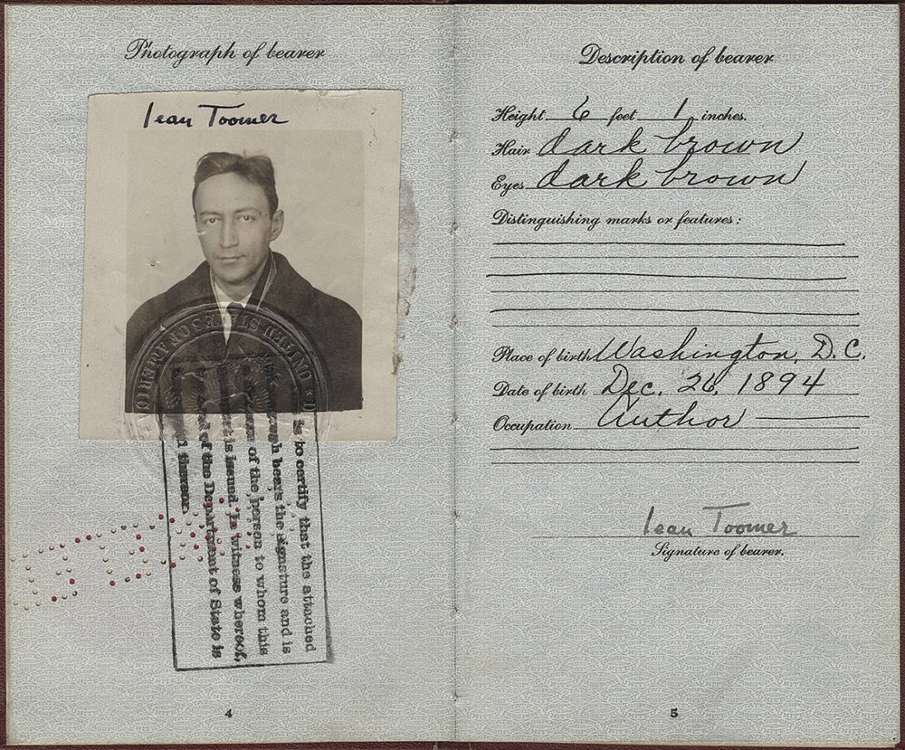 Jean Toomer's passport, 1926. Jean Toomer Papers, James Weldon Johnson Memorial Collection in the Yale Collection of American Literature, Beinecke Rare Book and Manuscript Library, Yale University.