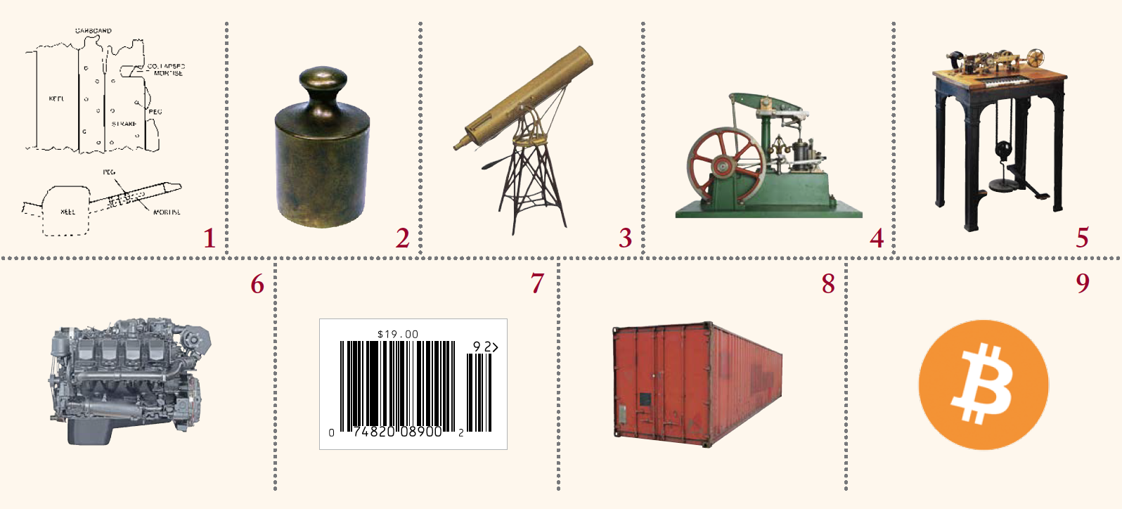 A series of images, each labeled with a number. 1 a diagram of a type of ship construction. 2 a weight. 3 a telescope. 4 a steam engine. 5 a telegraph. 6 an engine. 7 a barcode. 8 a shipping container. 9 the symbol for bitcoin.