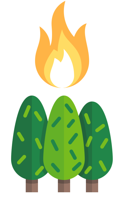 A yellow and orange flame above three green trees