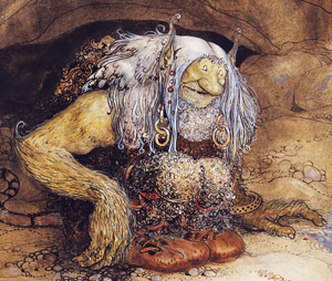 A drawing of a troll