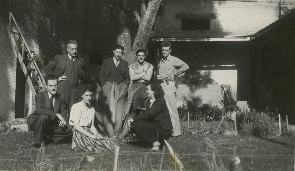 Photograph of members of Trotsky's household in Coyoacán, 1940.