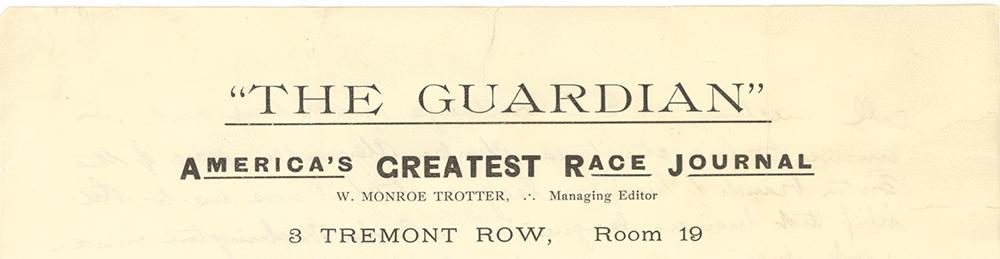 The Guardian lettterhead, 1905. University of Massachusetts Amherst.
