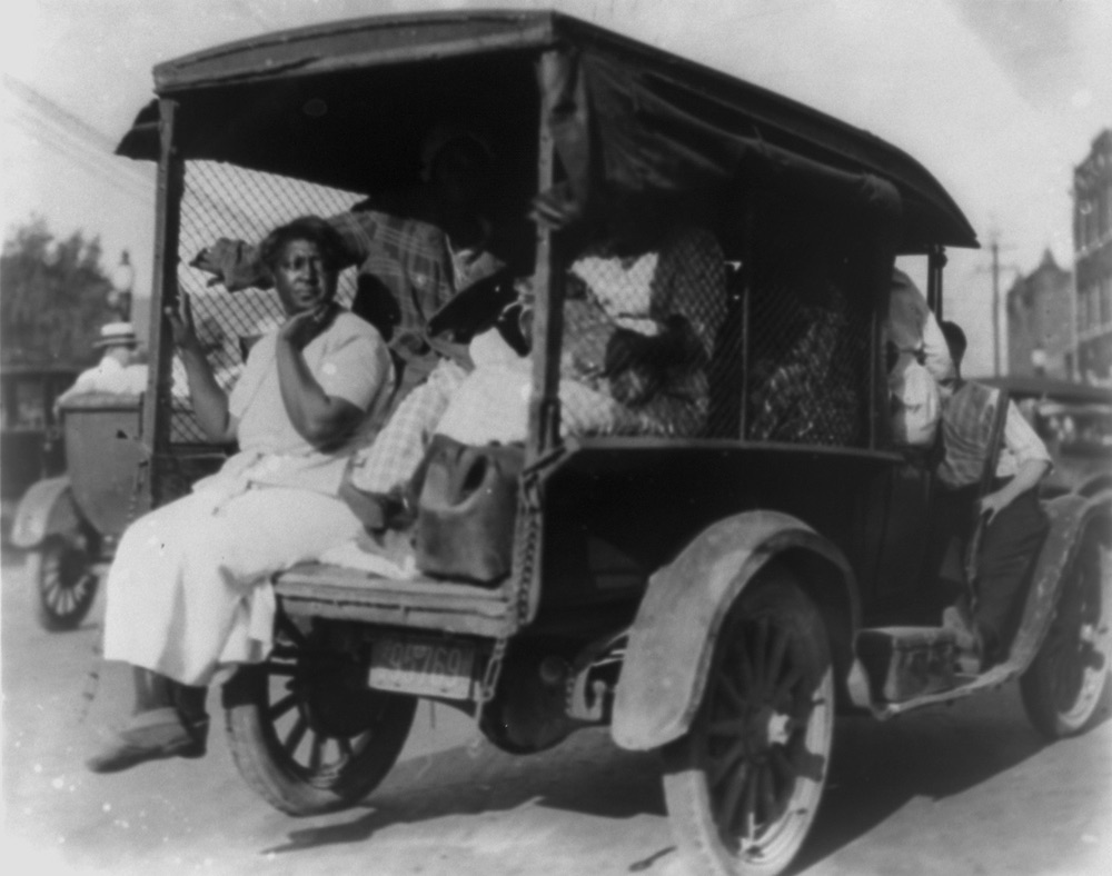 Rear view of truck carrying African Americans during the Tulsa, Oklahoma race massacre of 1921