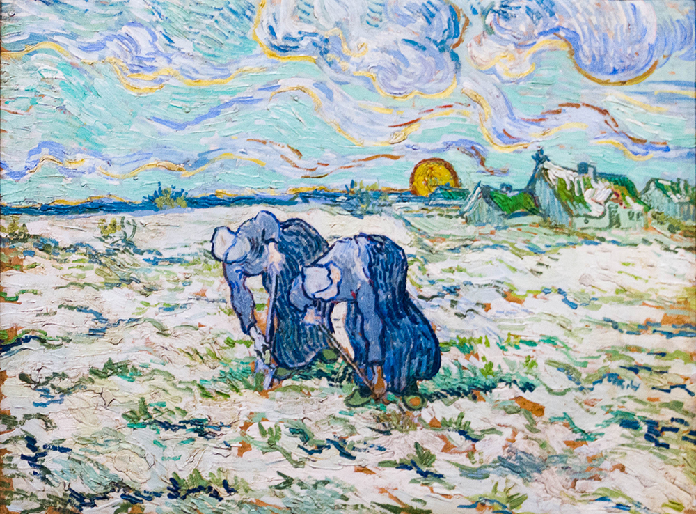 Two Peasant Women Digging in Field with Snow, by Vincent Van Gogh, 1890. Wikimedia Commons, Foundation E.G. Bührle Collection.