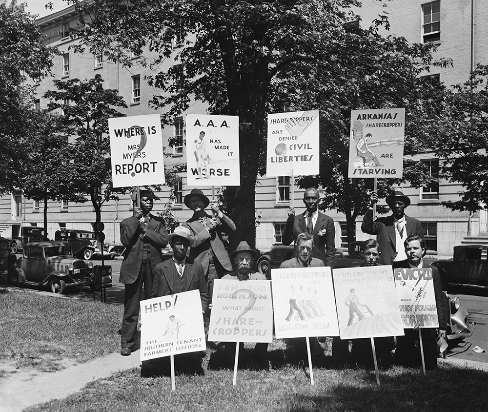 Picketers with signs in Washington, DC, 1935. Photograph by Harris & Ewing.