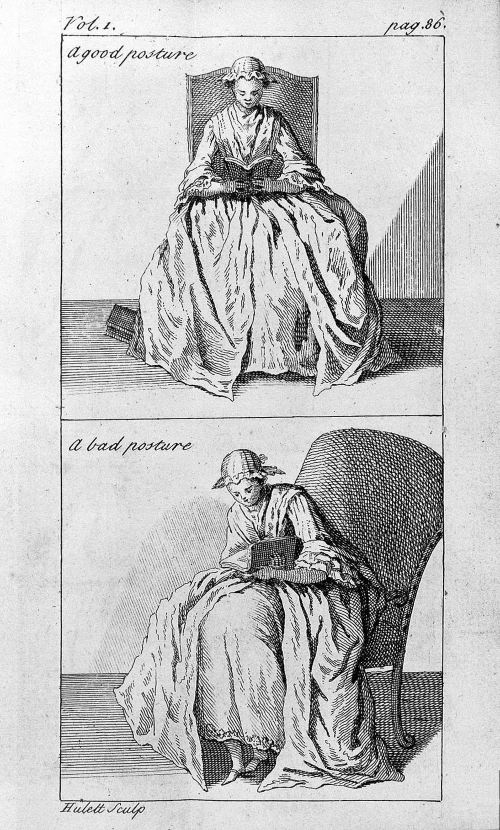 """""""The Correct Posture to Read,"""" by James Hulett, 1743. From Nicolas Andry de Bois-Regard, """"Orthopedia or the Art of Correcting and Preventing Deformities in Children."""" Wellcome Library, London."""