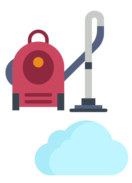 Vacuum cleaner above a cloud