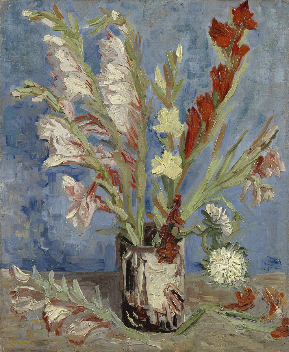 Vase with Gladioli and Chinese Asters, by Vincent Van Gogh, 1886. Van Gogh Museum, Amsterdam.